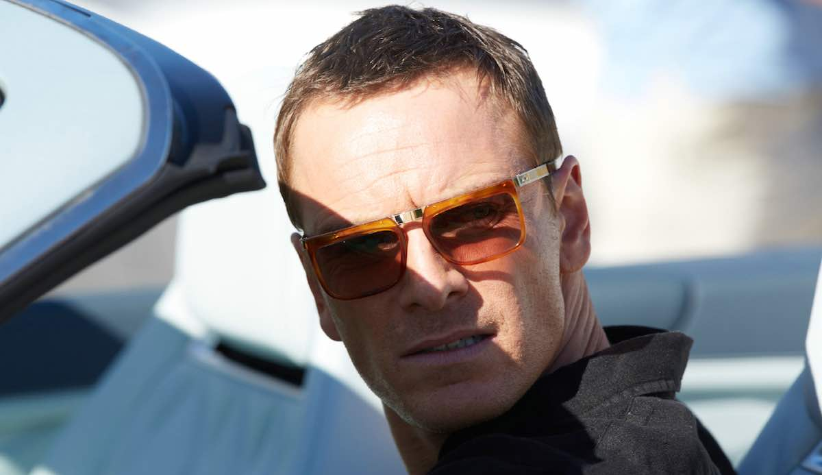 The Counselor Michael Fassbender wears a beige Honey Tort 1057 Sunglasses by Cutler and Gross in close up