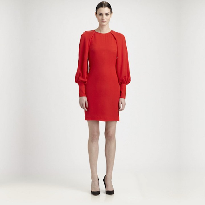 Red Long Sleeve Silk Dress by Martin Grant