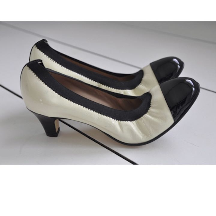 White Black Paige Ballet Pumps by Anyi Lu