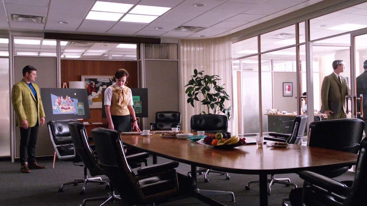 Mad Men Don Draper Black Time Life Executive Eames Chair in the conference meeting room of the SCDP agency