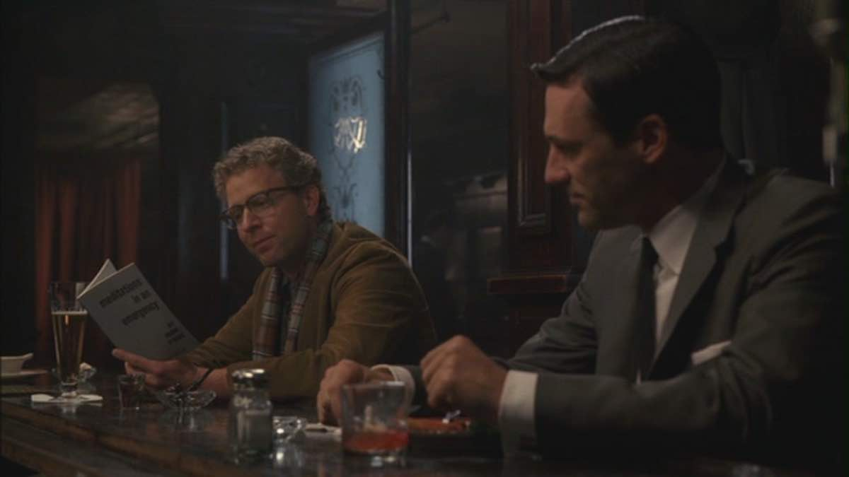 Mad Men Don Draper sees Frank O'Hara's Meditations in an Emergency book in the bar in For Those Who Think Young