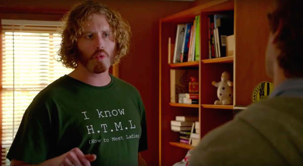 Silicon Valley Erlich wears his green I Know How To Meet Ladies HTML t-shirt  in Minimum Viable Product