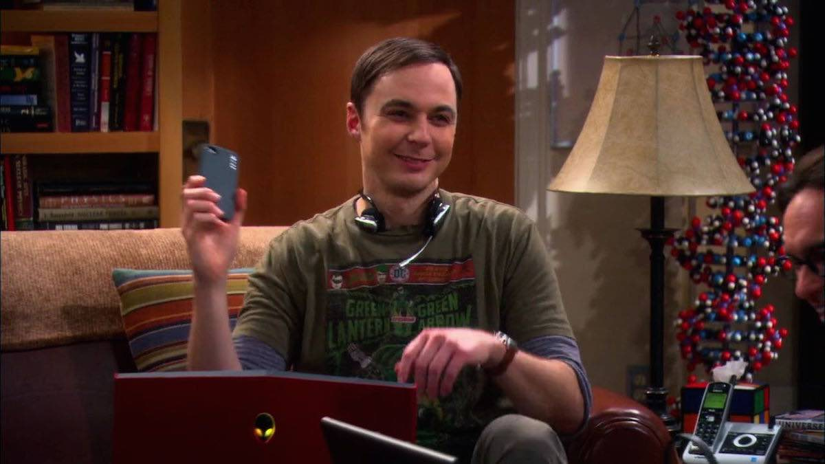 The Big Bang Theory Sheldon Cooper uses the Indiana Jones Whip App in his apartment in The Weekend Vortex