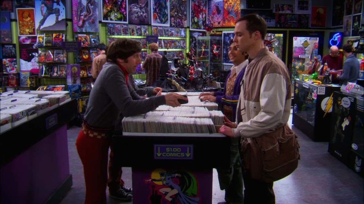 The Big Bang Theory Howard Wolowitz uses his Indiana Jones Whip App in the comic bookstore in The Weekend Vortex