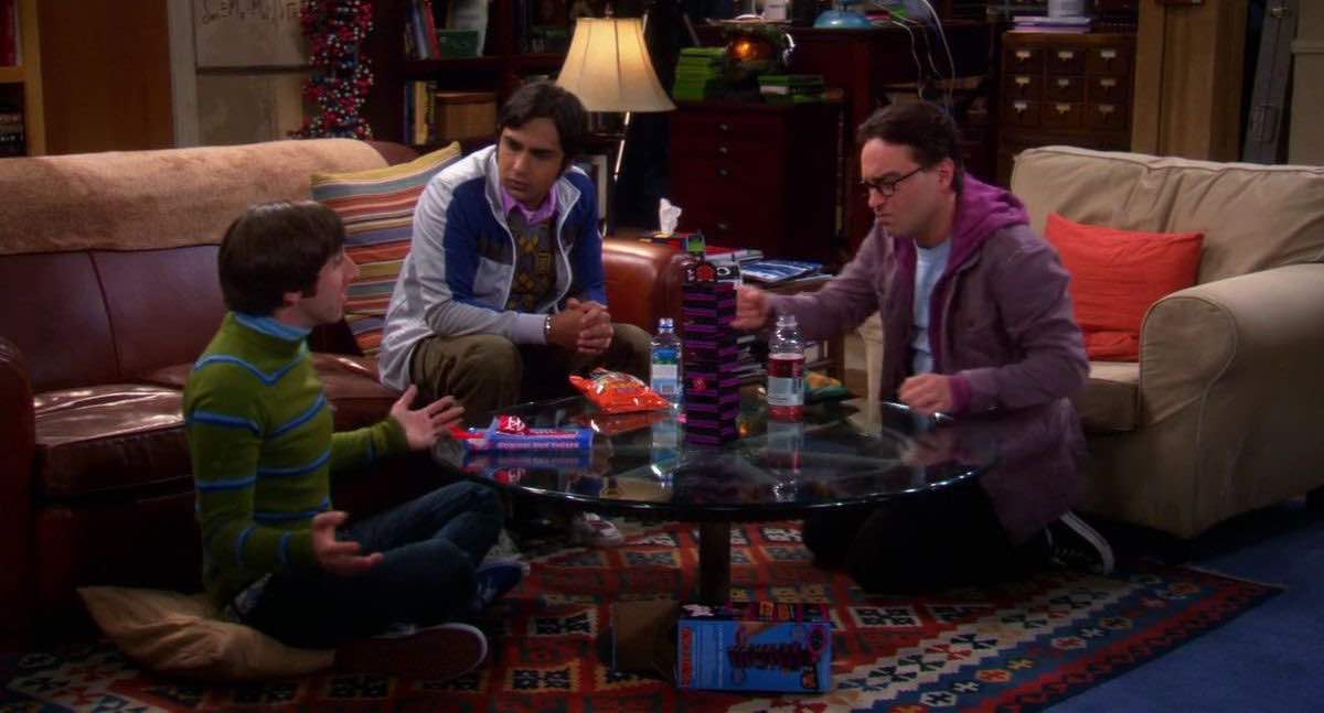 The Big Bang Theory Howard Wolowitz plays Donkey Kong Jenga in with Raj and Leonard his apartment in The Shiny Trinket Maneuver