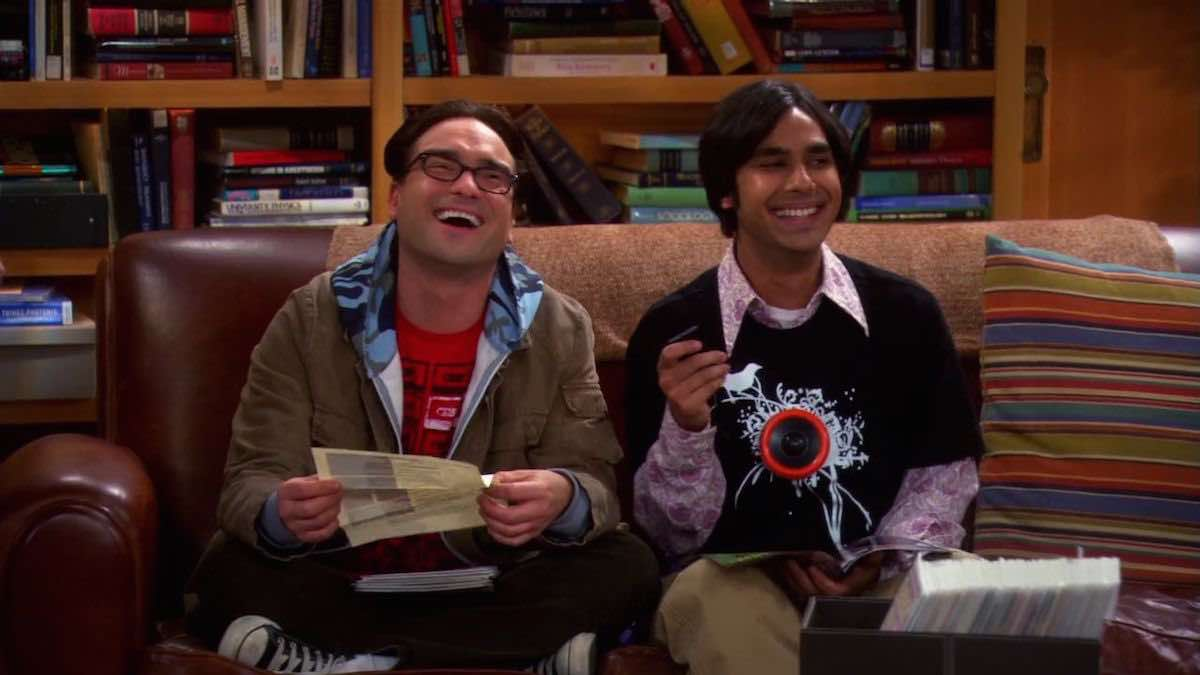 TBBT Raj wears black personal soundtrack t-shirt in the apartment of The Excelsior Acquisition