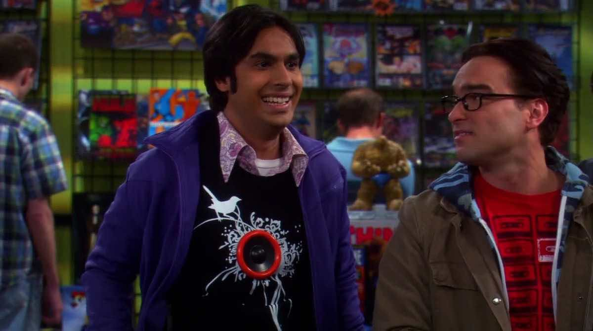 TBBT Raj wears his black Loudspeaker T-Shirt when he is so excited in the comic bookstore in The Excelsior Acquisition
