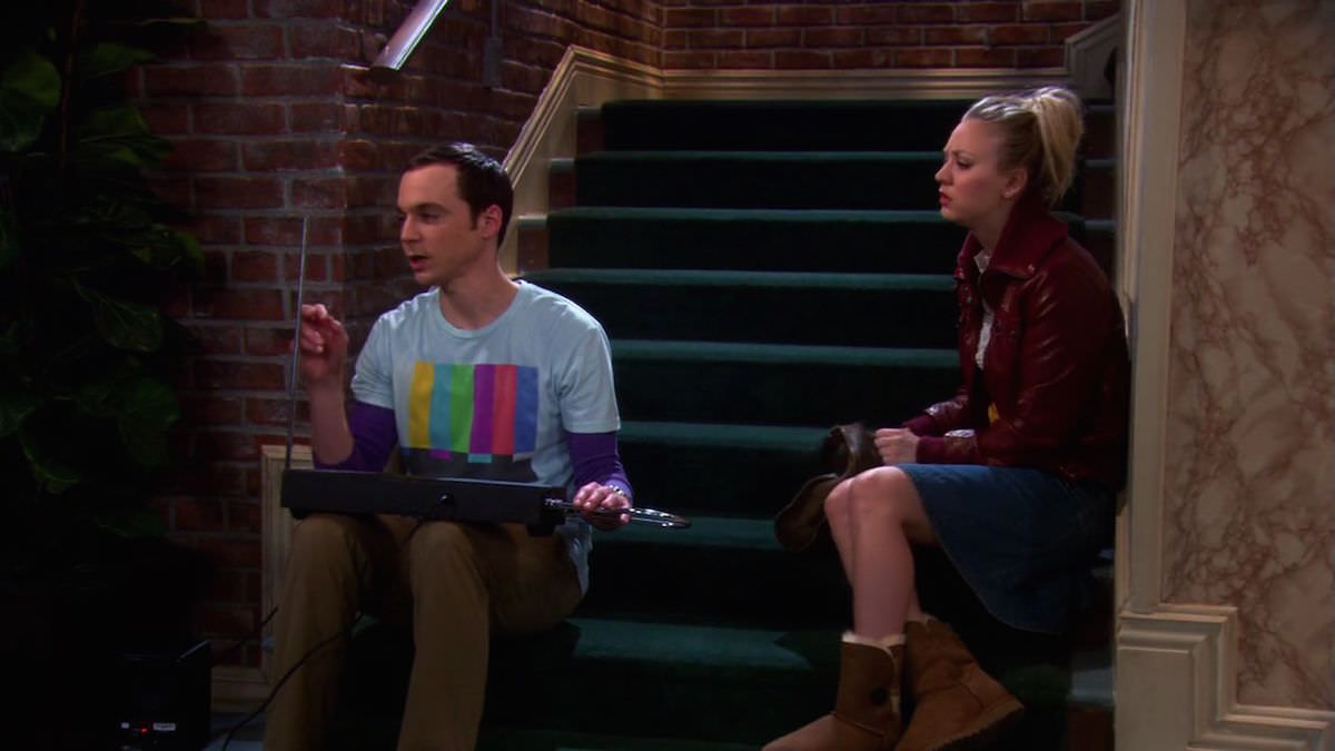 The Big Bang Theory Sheldon Cooper is playing the black Theremin in the staircase in The Bus Pants Utilization