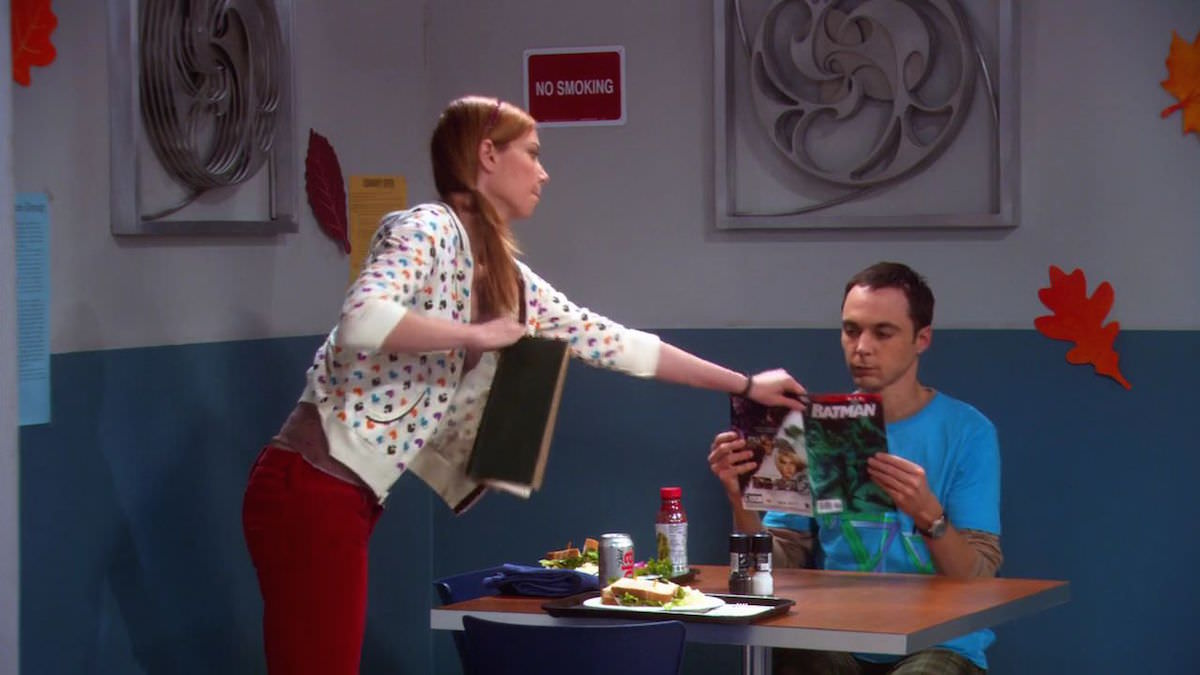 TBBT Sheldon Cooper wears blue Penrose triangle graphic T-Shirt in The Cooper-Nowitzki Theorem