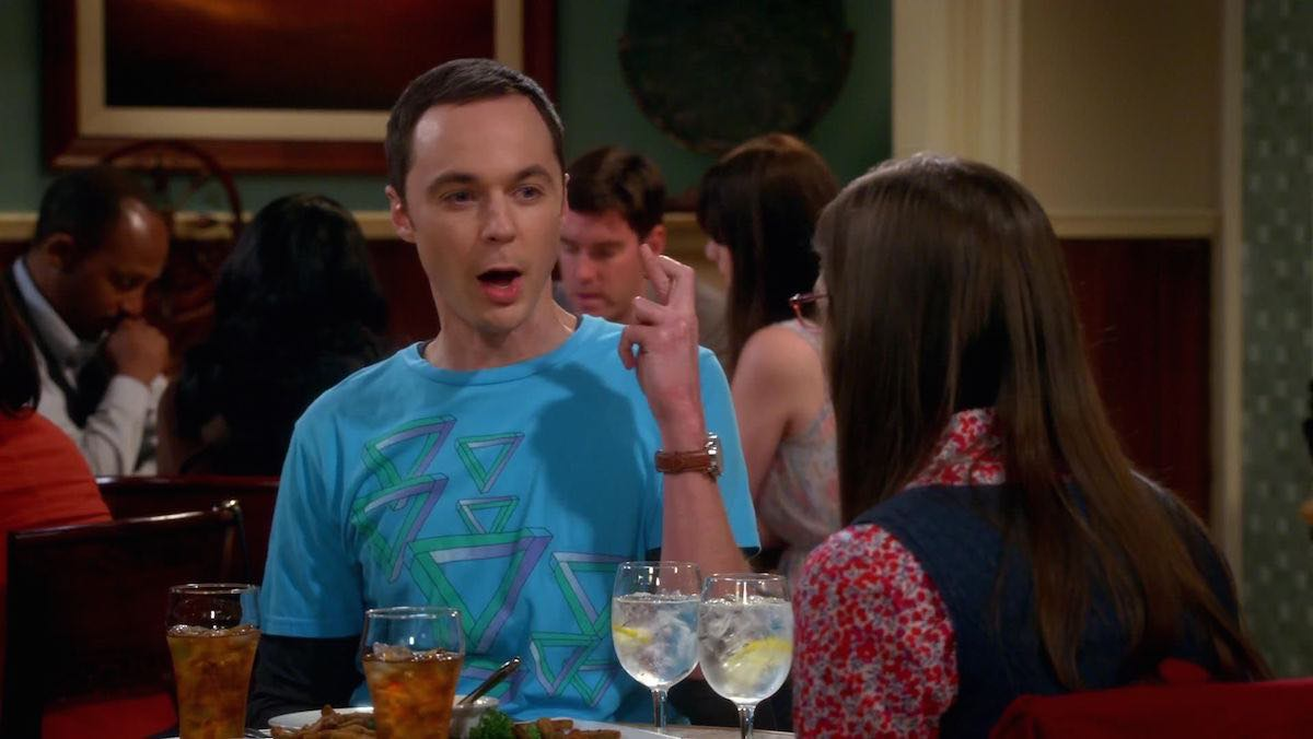 TBBT Sheldon Cooper wears blue Penrose triangle graphic T-Shirt in The Work Song Nanocluster