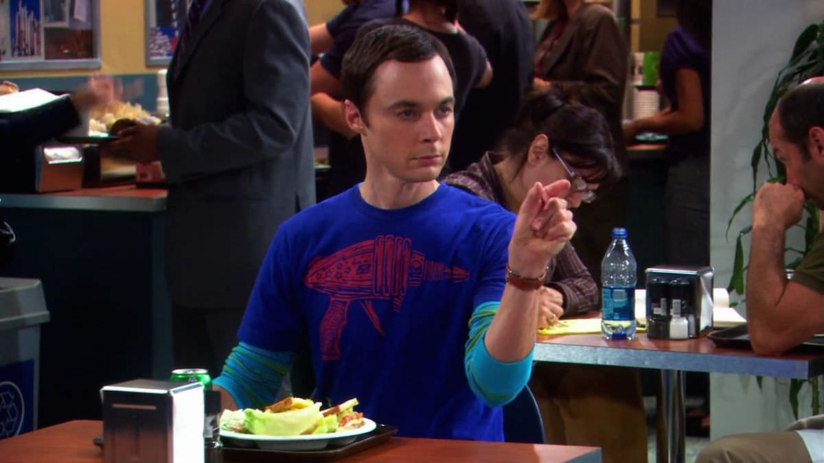 The Big Bang Theory Sheldon Cooper tries to choke Raj like Darth Vader with his pseudo telekinetic power in The Electric Can Opener Fluctuation