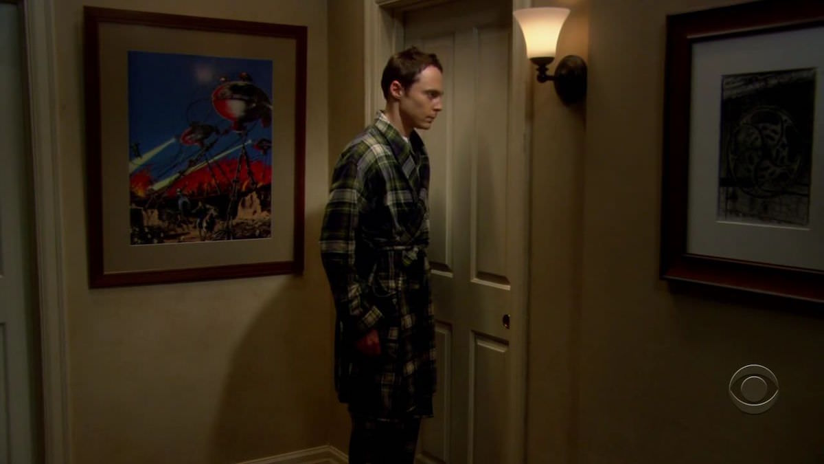 The Big Bang Theory Sheldon Cooper Sci-Fi Poster War of the Worlds on the wall in the corridor next to Leonard's bedroom door