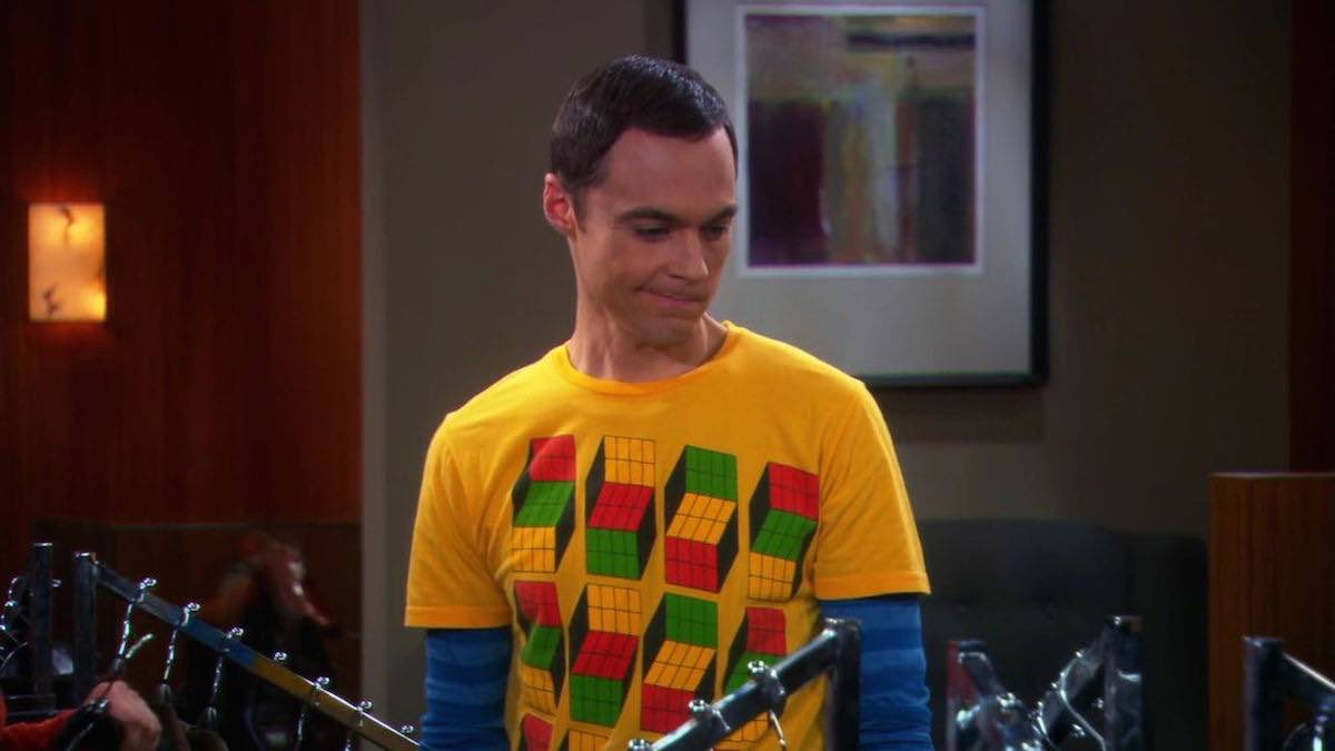 TBBT Sheldon Cooper wears yellow Opti Blocks T-Shirt in The Pants Alternative